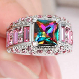 Jewelry - Rainbow Mystic Topaz Silver Plate Pink Size 8 Ring